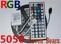 White  PCB Board 5050 LED RGB Strip  5M  IP20 Led Tape Non Waterproof  150LEDs/Roll +44 keys IR Remote