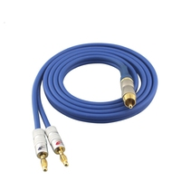 Audio Cable RCA Phono to Dual Banana Plug Subwoofer Amplifier Active Speaker Cable OFC Wire Hifi Gold Plated 1M 2M 3M 5M