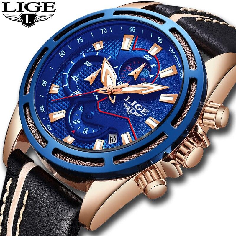 LIGE Hommes Montres Top Marque De Luxe Quartz Montre En Or Hommes Occasionnels En Cuir Militaire Étanche Sport Montre-Bracelet Relogio Masculino