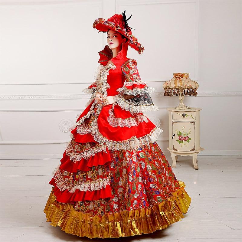 Floral K Retro nigin Red Kleid B Carnivale 1lF3uTKJc