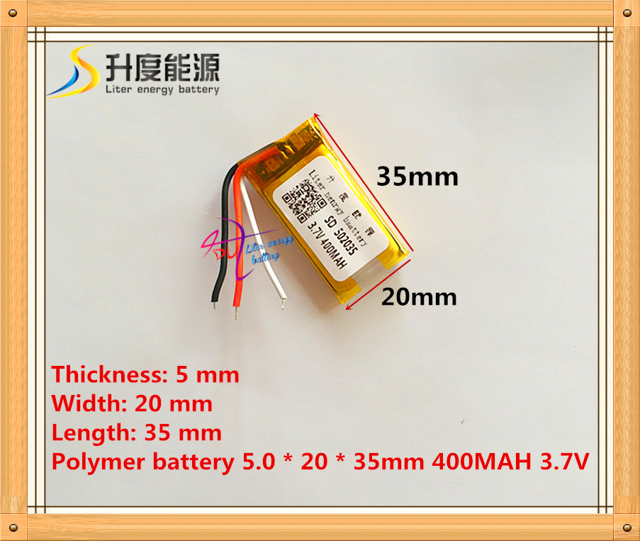 Supply polymer lithium battery 3 wire 502035 3.7V 052035 400MAH MP3 MP4 MP5 battery bluetooth headset battery 3 7v lithium polymer battery 042035 402035 300mah mp3 mp4 mp5 battery bluetooth headset battery