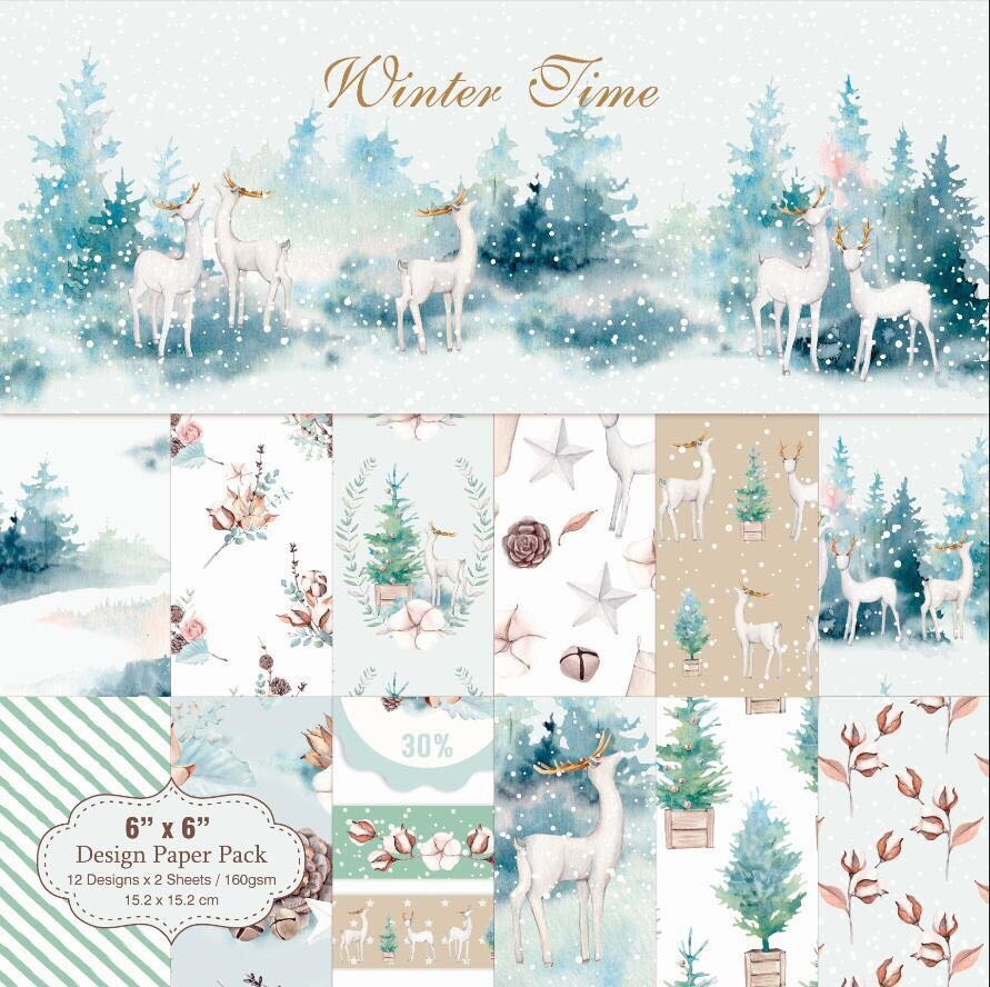 6 Inch 12/24 Sheet Winter Time Christmas Scrapbook Paper Origami Background Paper DIY Card Making Home Deco Gift Arts And Crafts