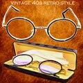Titanium Alloy Antirrflective покрытием с коробкой Сенатор круглый ретро классическая герцога очки для чтения + 1 + 1.5 + 2 + 2.5 + 3 + 3.5 + 4