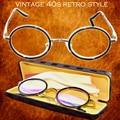 Titanium de la aleación antirrflective recubierto con caja senador ronda retro clásico duke's gafas de lectura + 1 + 1.5 + 2 + 2.5 + 3 + 3.5 + 4