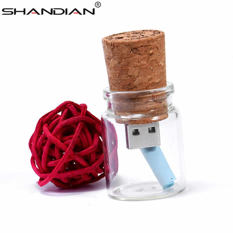 Shandian Nổi Mới Bình Pendrive 4GB 8GB 16GB 32GB 64GB Kính Chúc Chai Đèn LED Cổng USB Ổ Đĩa USB Thẻ Nhớ Món Quà Cưới