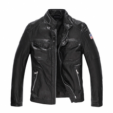 Leather Jacket Men 100% Genuine Leather Outerwear Slim Fit Real Sheepskin Coat  Short Motorcycle Jacket Rider Coat TJ037