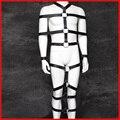 2016 esposas moderación vendaje de la pierna de Cuero de cuerpo completo para el sexo masculino servidumbre arnés esclava sexual Alternativa juguetes sexuales para pareja