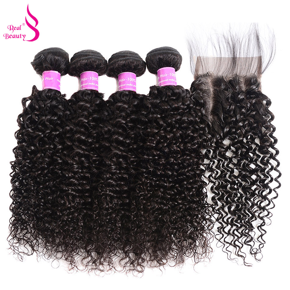 Mongolian Kinky Curly Weave 100% Human Hair Bundles With Closure 4 And 5 Pcs/Lot Remy Human Hair Weave Bundles Real Beauty Hair