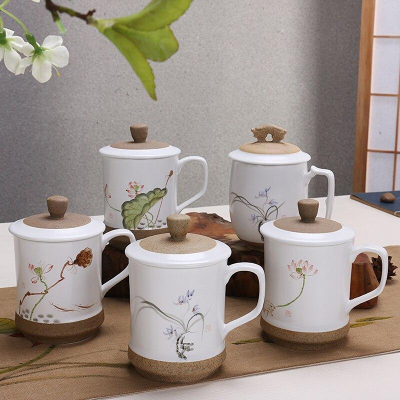 Šálek čaje keramický krycí sklo velkokapacitní šálek čaje