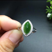 yu xin yuan boutique jewels natural green jasper 925 silver inlay jade lady adjustable ring  jewelry kjjeaxcmy boutique jewels 925 pure silver inlaid natural hibiscus stone earrings ring set