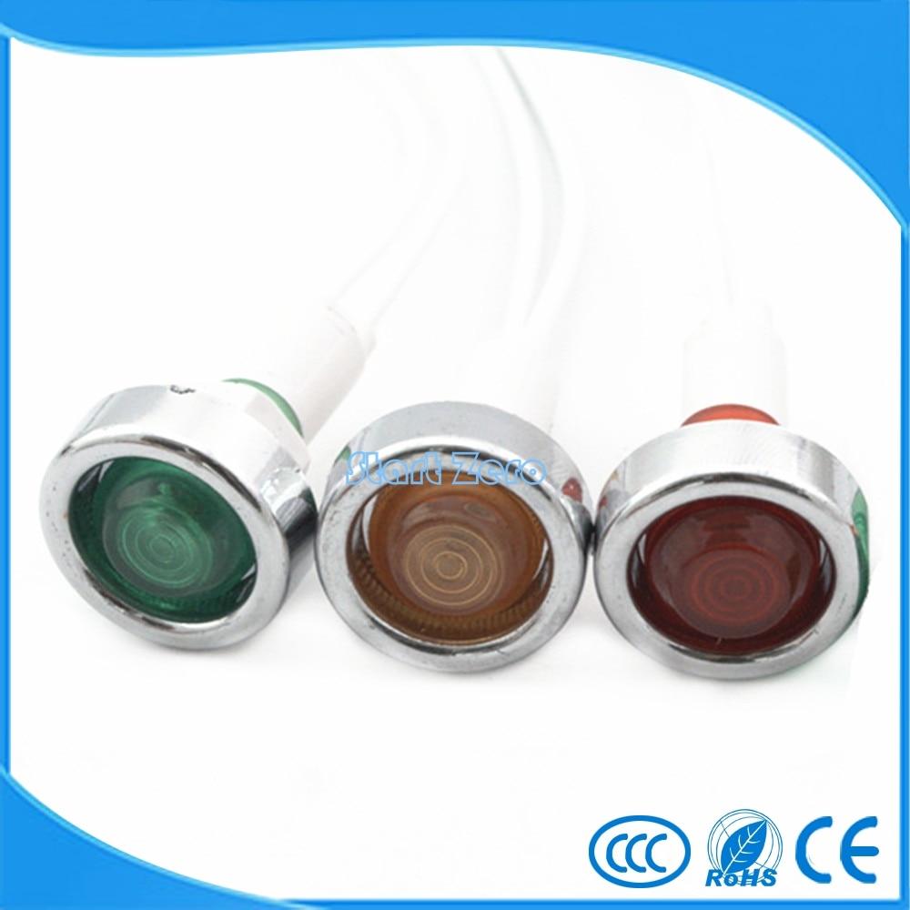 3PCS 24V 220V 10mm signal light pilot lamp signal light with 20cm wire