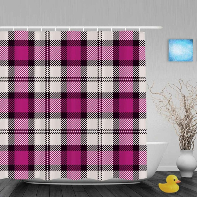 Seamless Knitting Pattern Bathroom Shower Curtains Morden Pink White