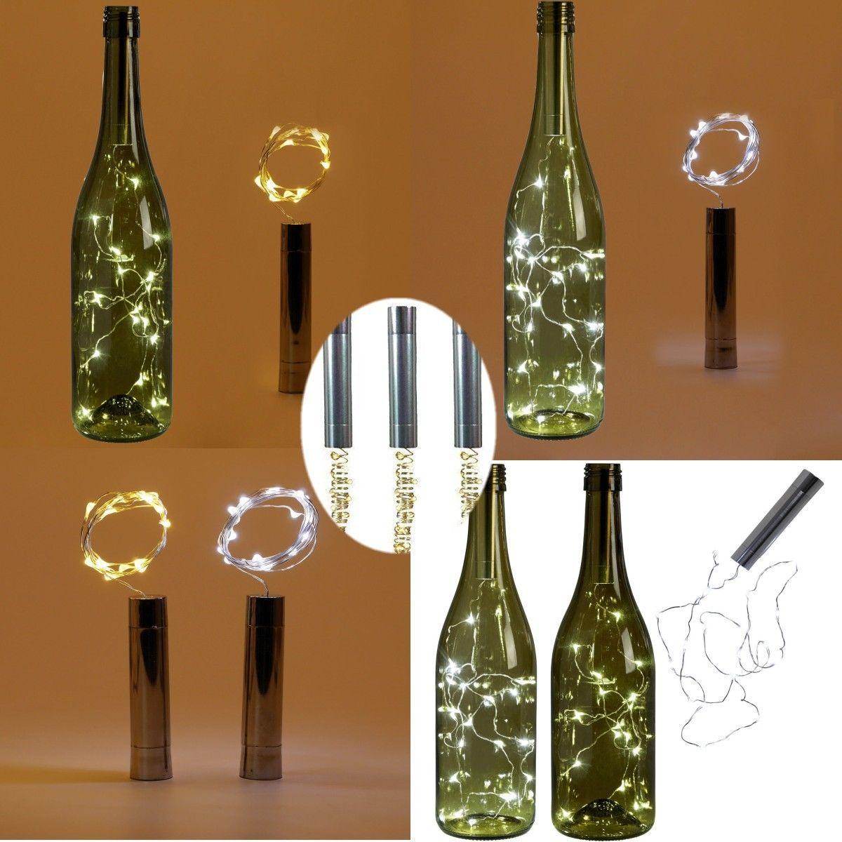 15 led battery powered plating wine bottle stopper copper for Wine bottle night light diy