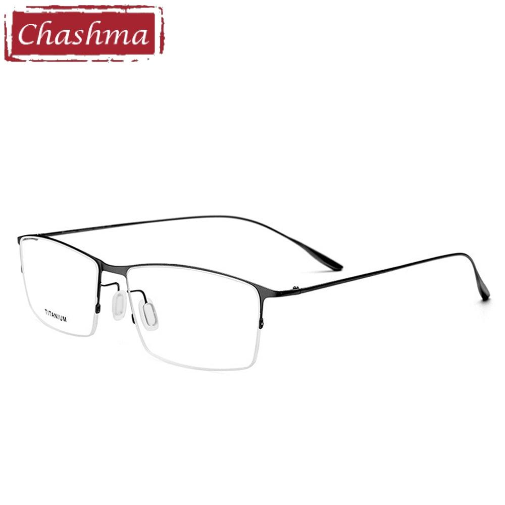 Chashma Homens Marca de Qualidade Óculos Metade Quadro Masculino Semi Aro  Luz Miopia Titânio Óculos Armações 64952872d3