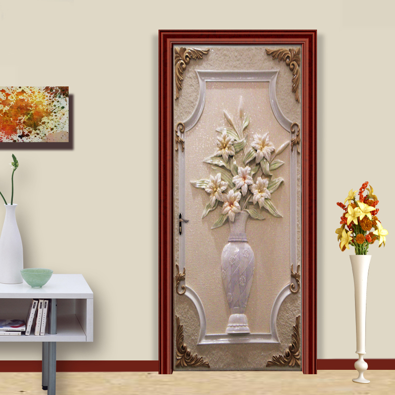 Door Sticker PVC Self-adhesive Wall Painting European Style Vase 3D Living Room Bedroom DIY Door Sticker Mural Wallpaper Murals  free shipping european 3d relief murals aisle porch corridor classical style wallpaper rich tree rose vase mural