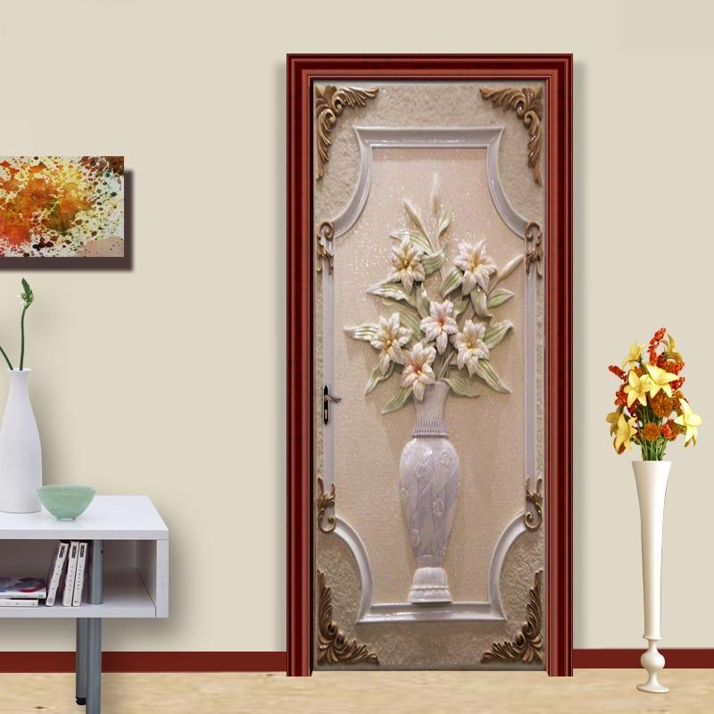 Door Sticker PVC Self-adhesive Wall Painting European Style Vase 3D Living Room Bedroom DIY Door Sticker Mural Wallpaper Murals