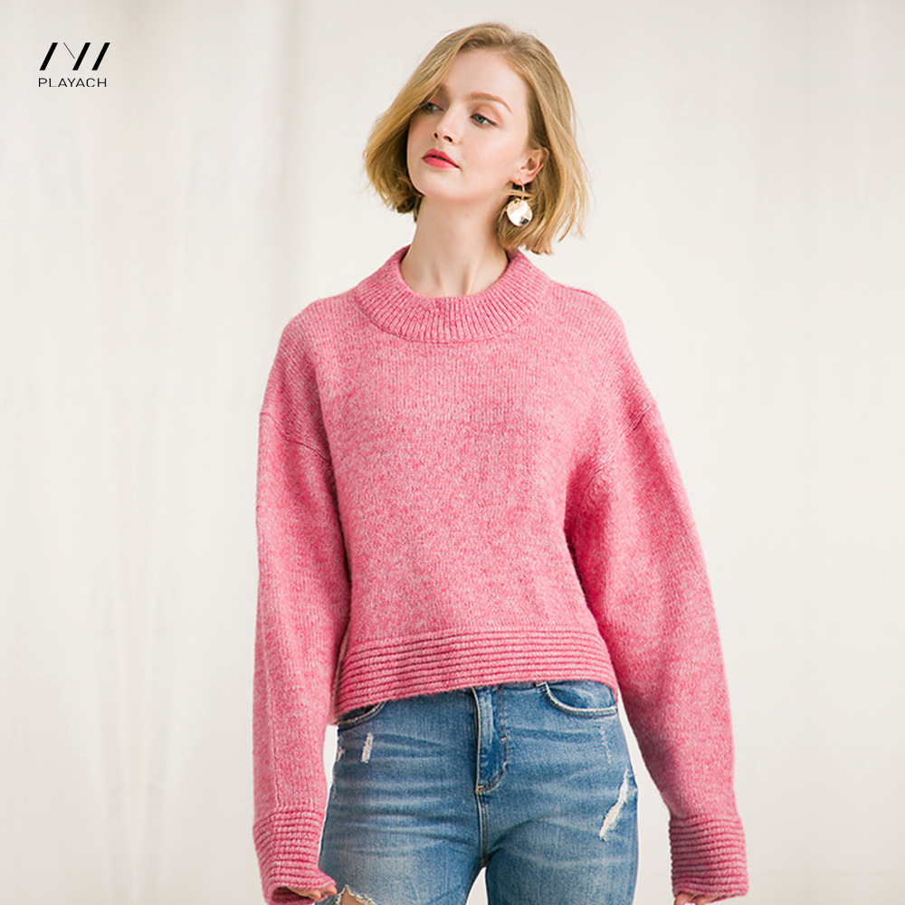 Autumn Loose Casual Batwing Long Sleeve Solid Women Sweater Female Fashion New Round Neck Leisure Back Split Warm Winter Sweater