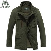 AFS JEEP Brand Winter Jacket Men Windbreaker Army Military Men Jacket 100% Cotton Multi pockets Man Outwear Coats Plus Size 4XL