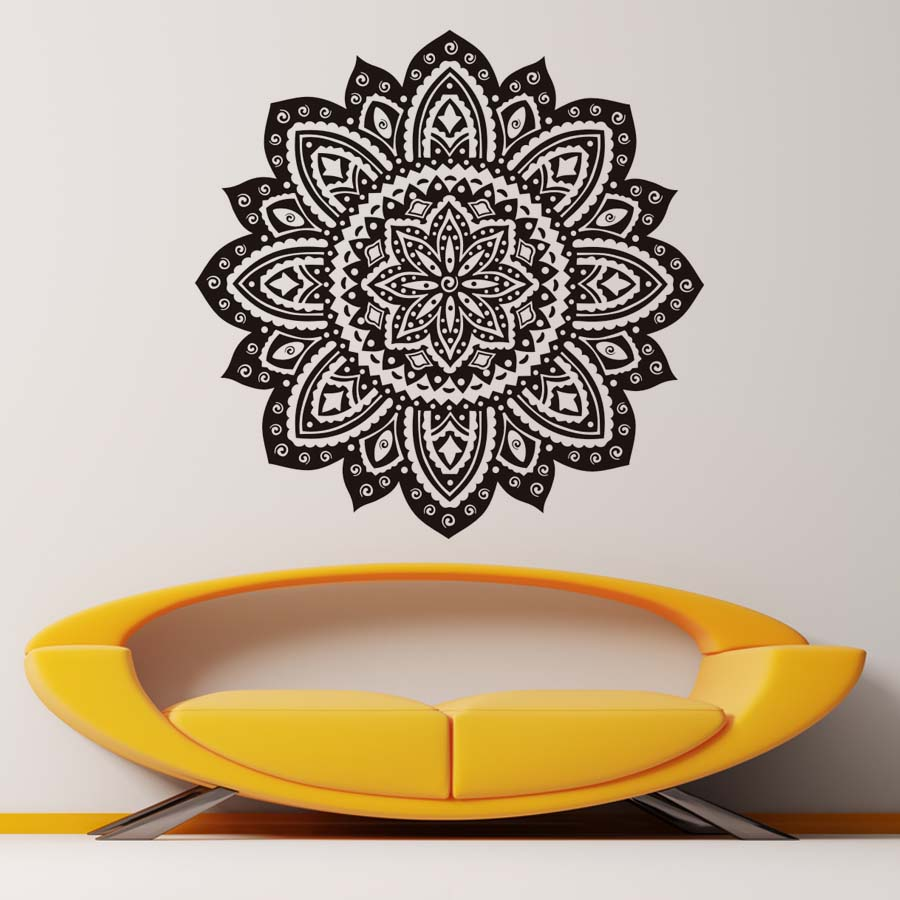 Hot Sale Mandala Wall Stickers Home Decor Indian Lotus Flowers Pattern Living Room Wall Decals
