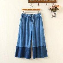Spring/summer Vintage Lace Jeans Pants Embroidered Leisure Jeans Pants Women Loose Stitching Blue Female Wide Leg Jeans Trousers