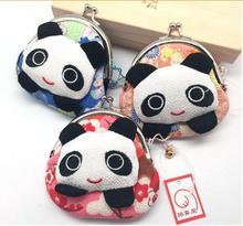 10 pieces Japan Kimono panda Pocket money Plutus cat sweet clip design coin purse Key wallet coin bag недорого