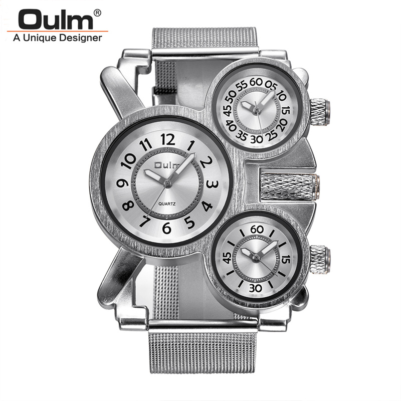 Oulm Three Time Zones Men Quartz Watches Casual Mesh Steel Leather Band Multiple Time Zone Watch Unique Sports Men's Wristwatch oulm square man writwatch double time zones watch men leather watch good quality