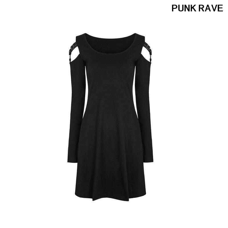 Femmes noir pratique Match Version robes concis bretelles en cuir boucle à manches longues col large Slim robe PUNK RAVE WQ-346LQF