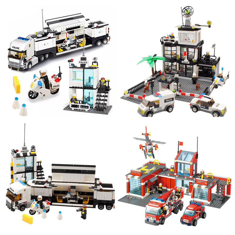 Toys Police Station Playmobil Modle Building Blocks DIY Bricks Set Educational Toys For Children Compatible City 111pcs children blocks toys police series helicopter blocks toys assembled model building kits educational diy toys for kids