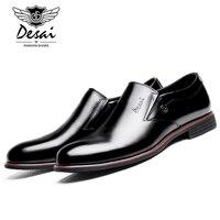 DESAI Fashion Italy Men S Shoes Casual Genuine Cow Leather Black Simple Business Office Designer Slip