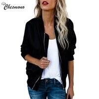 Chesmono New Spring Autumn Women Thin Jackets Tops Basic Bomber Jacket Long Sleeve Coat Casual Stand