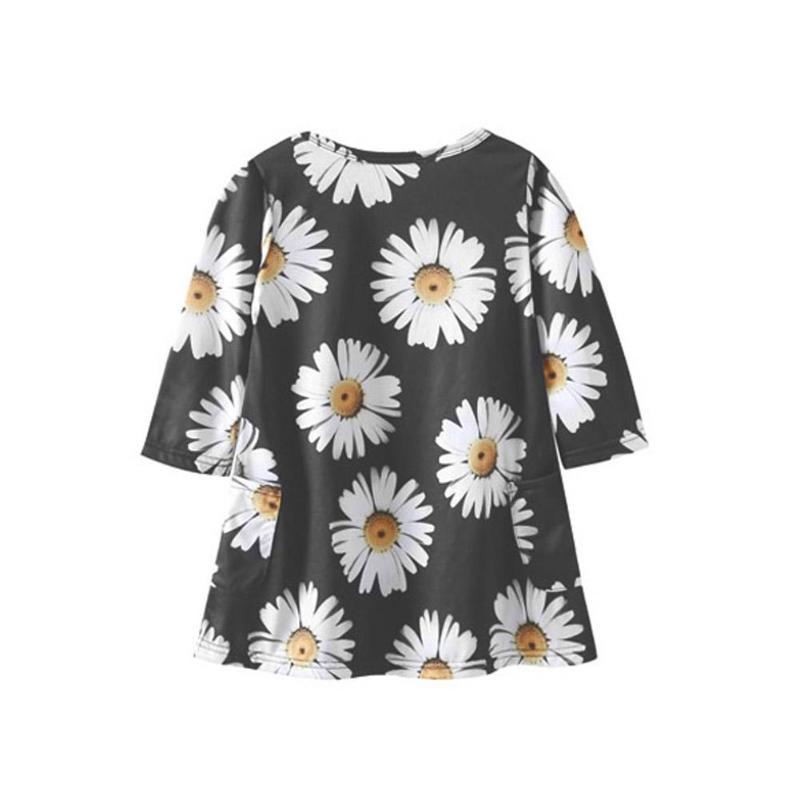 Mode Daisy fleur famille correspondant vêtements automne printemps mère fille enfants Floral imprimé robes noir maman fille robe 5