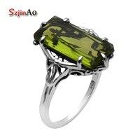 Szjinao 9x18mm Dikdörtgen Yeşil Peridot 925 Ayar Gümüş Takı Victoria Antik Takı Yüksek Kalite Yüzükler Kadınlar için