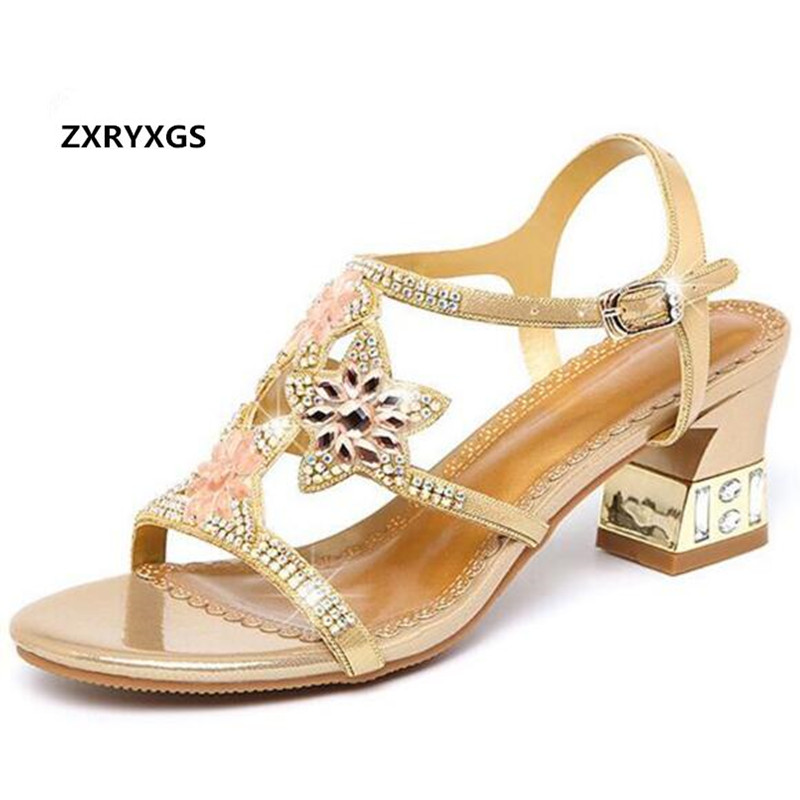 2019 New Famous Female Summer Sandals High Heels Rhinestone Shoes Fashion  Sandals with The Genuine Leather c9b693931a8f