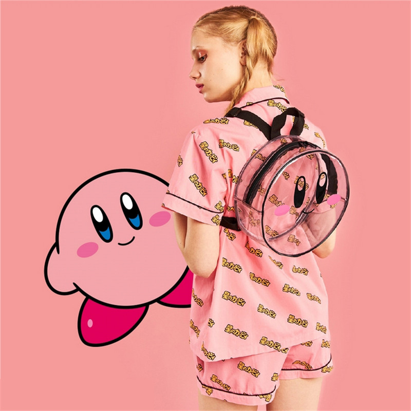 Kirby Super Star round Transparent Backpack kawaii bag girls woman style(China)