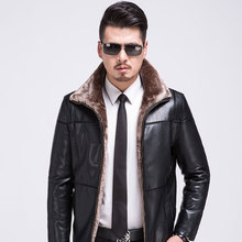Male Sheep Leather Jackets The New 2016 Middle-aged Men With Thick Fur Coat Men's Motorcycle Warm Coat M-3XL