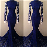 Royal-Blue-High-Neck-Long-Sleeves-Court-Train-Mermaid-Lace-Evening-Dresses-Lace-Mermaid-Party-Gowns