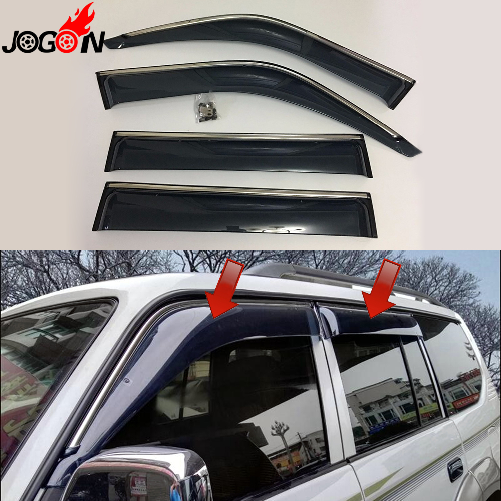For Toyota Land Cruiser LC80 FJ80 Window Sun Rain Visors Vent Shade Deflector Guard Weather Shield 4PCS