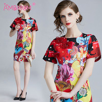 High Quality Woman 3D Flower Dresses Fashion Lady a line Party Printing Dress vintage woman mid dress AMBMCM