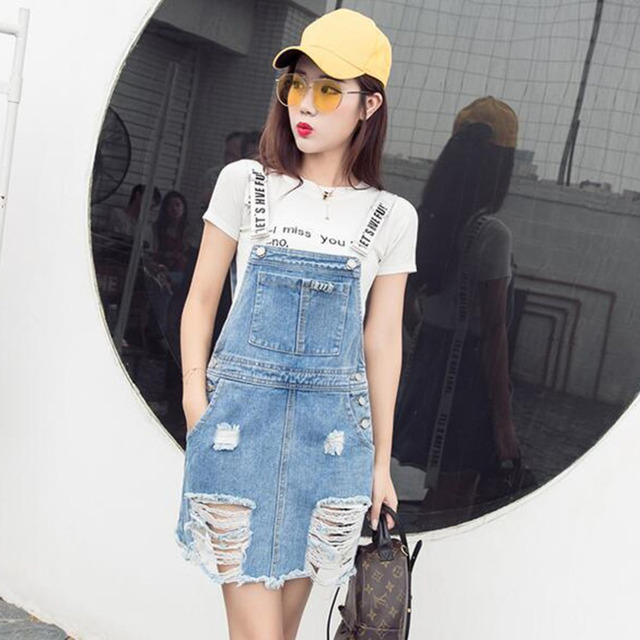 4b118b65325 New Women Summer Ripped Denim Skirts Casual Jeans Sundresses Korean Fashion  Ripped Hole Blue Denim Suspender Skirts With Pockets