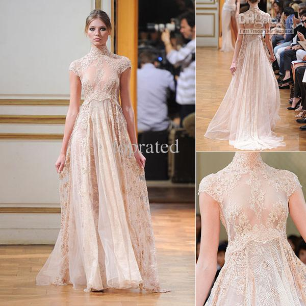 Online Shop 2015 New Collection Long Zuhair Murad Empire Evening Dresses Nude Color See Through Short Sleeve Beach Sheer Champagne