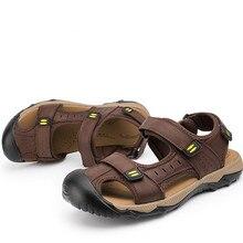 A pie de Playa de Gran Tamaño 48 Zapatos de Cuero Masculino Zapatos de Deporte Al Aire Libre Casual Sandalias Chaussure Diseñador Pisos Agua río Arriba