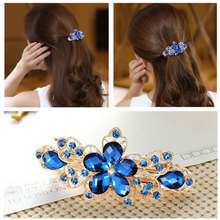 1PC Fashion Women Girls Five-leaf flower crystal Crystal Rhinestone Barrette Hairpin Headwear Hair Clip Womens jewelry