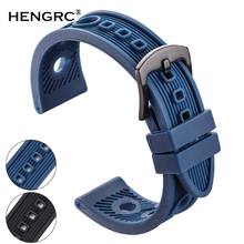 HENGRC 22mm Rubber Watch Band Strap Men Soft Diving Black Silicone Sport Watchband Belt Metal Black Silver Buckle Accessories