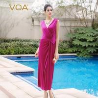 VOA Slim Was Thin Deep V Dress Purple Silk Stretch Knit Skirt Elegant Aristocratic Temperament Sleeveless