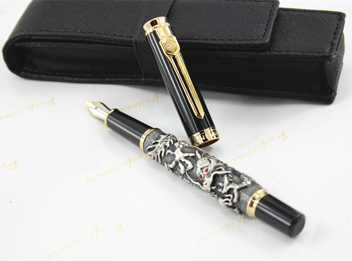 high quality JINHAO Dragon PEN luxury school Office Stationery 0.5MM Nib Ink Gifts Writing Fountain Pen/ PEN bag/ pencil case dikawen 891 gray gold dragon clip 0 7mm nib office stationery metal roller ball pen pencil box cufflinks for mens luxury