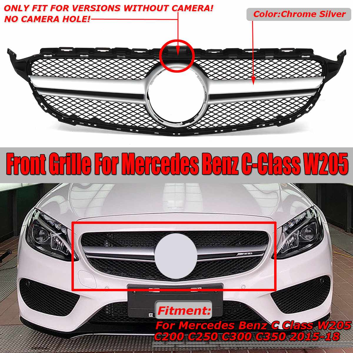 For AMG Style Chrome Silver Car Front Grille Grill For Mercedes For Benz C Class W205 C200 C250 C300 C350 2015-2018For AMG Style Chrome Silver Car Front Grille Grill For Mercedes For Benz C Class W205 C200 C250 C300 C350 2015-2018