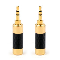 Areyourshop 2.5mm Jack Estéreo Plugue de Áudio Conector Banhado A Ouro 20 PCS De Fibra De Carbono Adaptador de Conector de Alta Qualidade