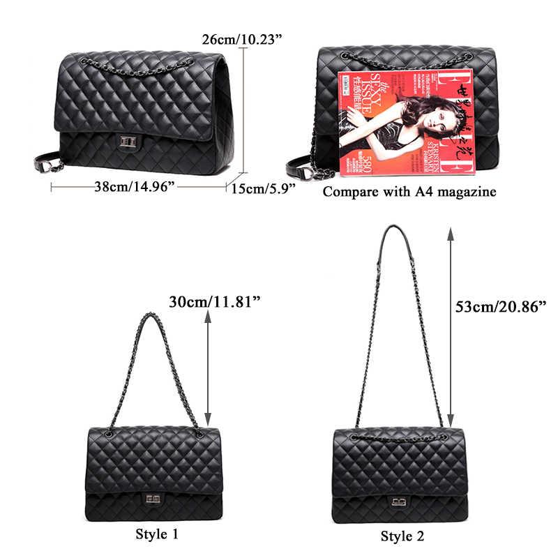 c1bde4082a ... Large big jumbo shoulder bag women Travel Bags Leather Pu Quilted Bag  bao bao crossbody bag ...