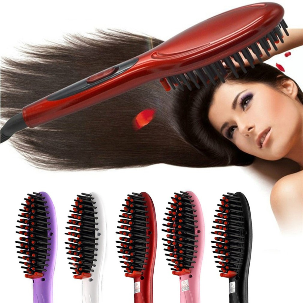 Ceramic Electric Brush Hair Styling Tool Hair Straightening Brush Hair Straightener Girls Ladies Hair Comb