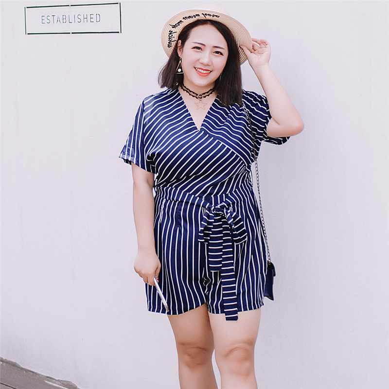 HUTOBI Women Plus Size Striped Tunic Jumpsuits Office Ladies Belted Bow Vertical Rompers 2018 V Neck 5XL Playsuits Combinaison